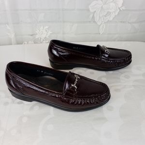 SAS Wine color patent leather loafers 6.5